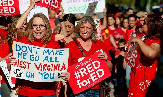 Teachers demonstrate as part of the Red for Ed movement in Arizona