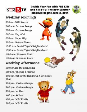 The Summer 2014 Kids KTTZ-TV Kids Schedule