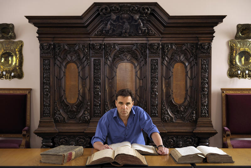 Niall Ferguson with the archives of Frederick the Great, 17th-century Prussian king.