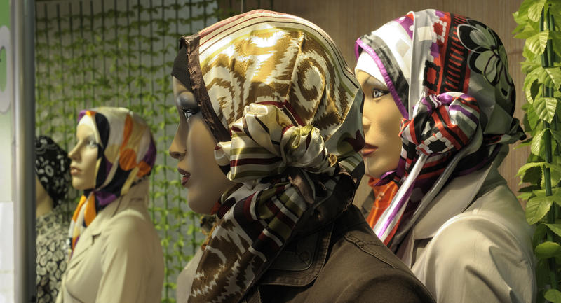 Headscarves on dummies, Istanbul, Turkey.