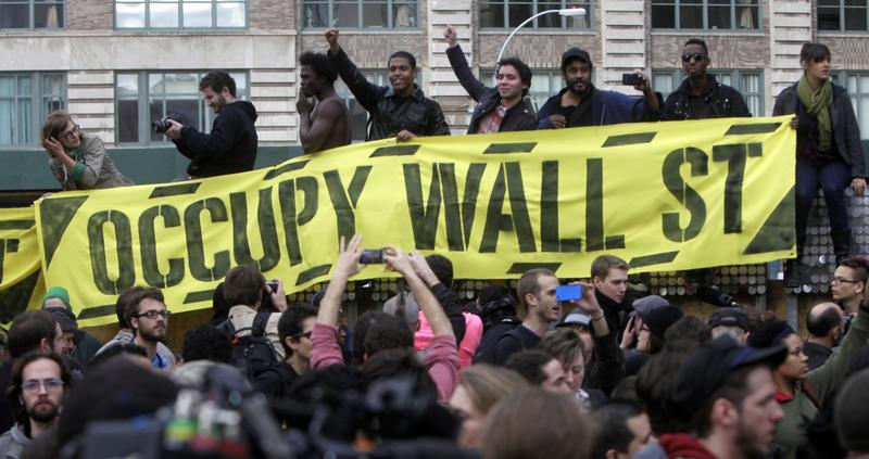 Occupy Wall Street protesters rally, New York City, November 2011.