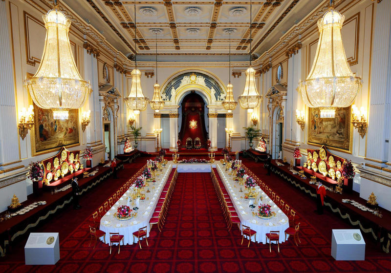 The ballroom in London's Buckingham Palace arranged for a state banquet.
