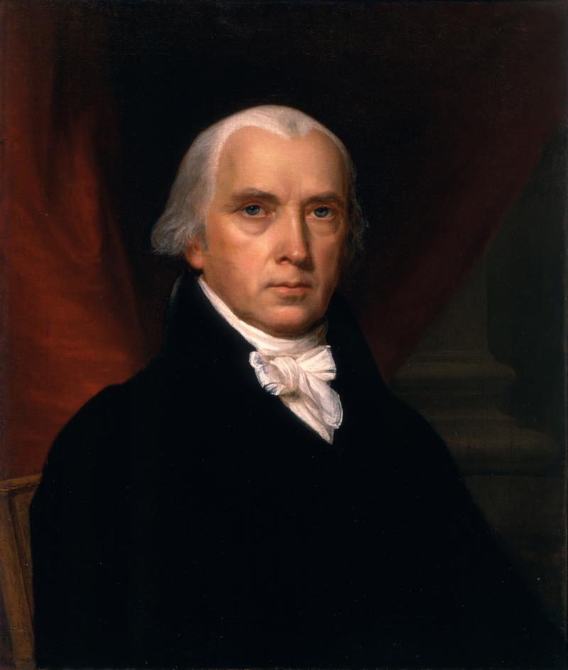 Portrait of James Madison, President of the United States during the conflict portrayed in The War of 1812.