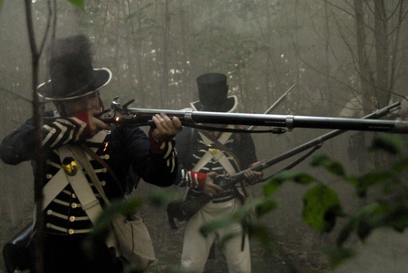 U.S. soldiers fighting at the Battle of Tippecanoe, Indiana, in a re-enactment from The War of 1812.