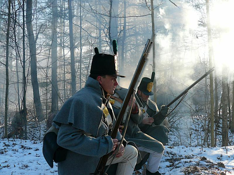 American regular soldiers, in a re-enactment from The War of 1812.