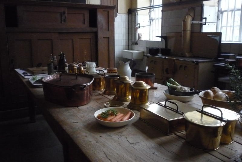 The Dunham Massey House kitchen, Cheshire, England.