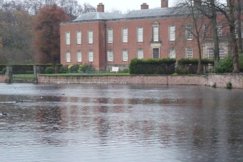 The exterior of the Dunham Massey House, Cheshire, England.