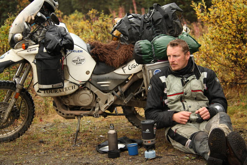 """Hour Two - """"The Road North."""" Chris Morgan takes a break after an exhausting drive on the way to Anchorage from Homer along a back road."""