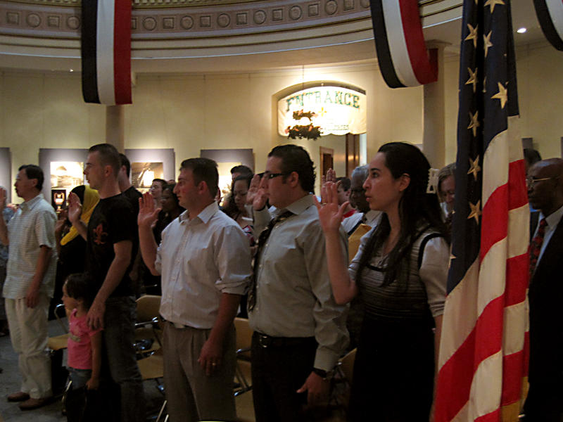 Citizenship ceremony at historic St. Louis courthouse.