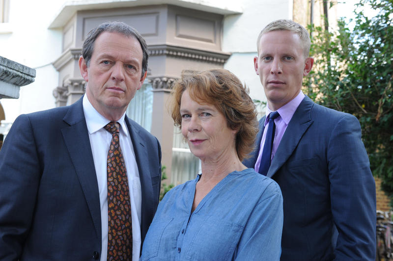 Shown from left to right: Kevin Whately as Inspector Lewis, Celia Imrie as Michelle Marber, and Laurence Fox as DS Hathaway