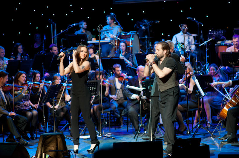 Singer Melanie C joins Alfie Boe on stage.