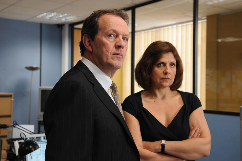 Kevin Whately as DI Lewis and Rebecca Front as Innocent.