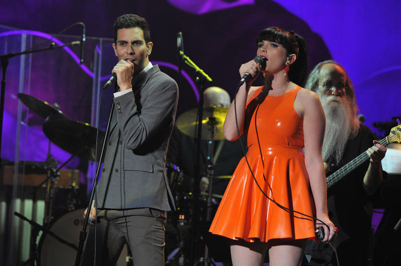 Gabe Saporta and Victoria Asher perform during the concert held at Hollywood's Music Box Theatre in celebration of what would have been Buddy Holly's 75th birthday, September 7, 2011.