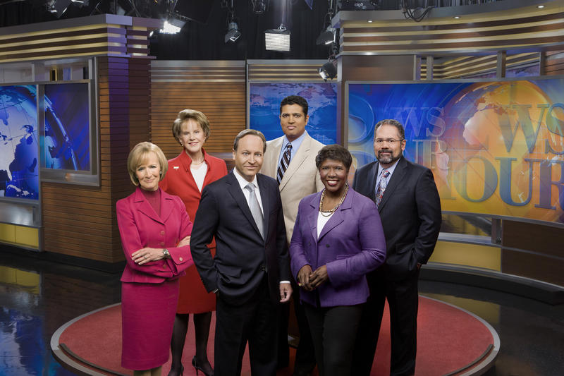 Pictured L to R: Judy Woodruff, Margaret Warner, Jeffrey Brown, Hari Sreenivasan, Gwen Ifill and Ray Suarez.