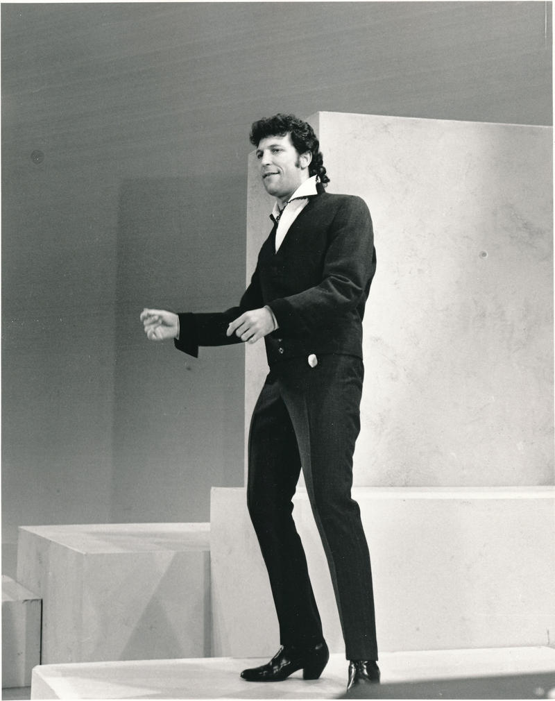 "Tom Jones sings his smash hit ""It's Not Unusual""."