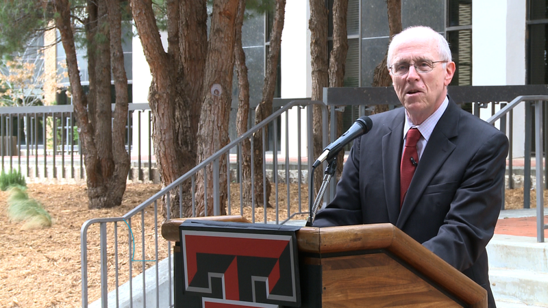 Chancellor Kent Hance speaks at a ribbon cutting ceremony for the new College of Media and Communication.