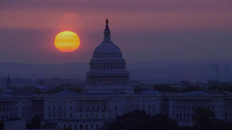 Sunset over the U.S. Capitol, Washington, DC.