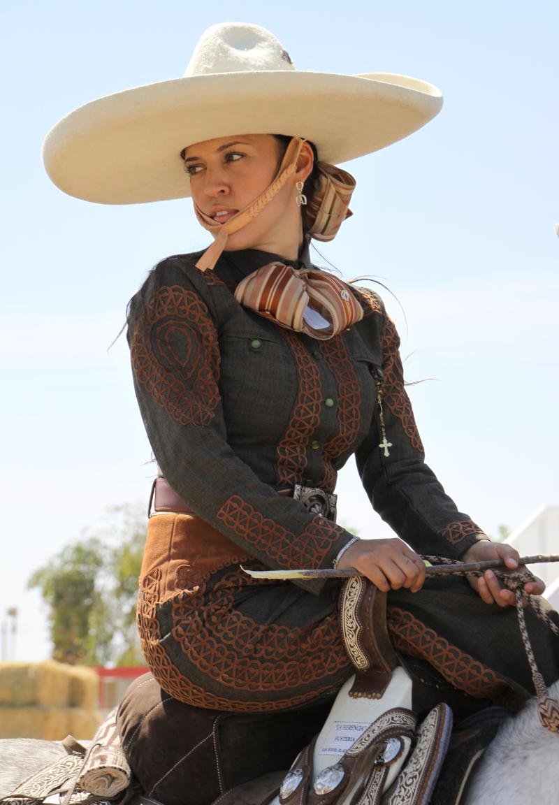 "Escaramuza Charra Las Azaleas' Maribel Gutiérrez dressed in ""traje de charra."""