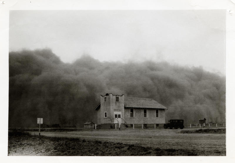 The huge Black Sunday storm - the worst storm of the decade-long Dust Bowl in the southern Plains - just before it engulfed the Church of God in Ulysses, Kansas, April 14, 1935.