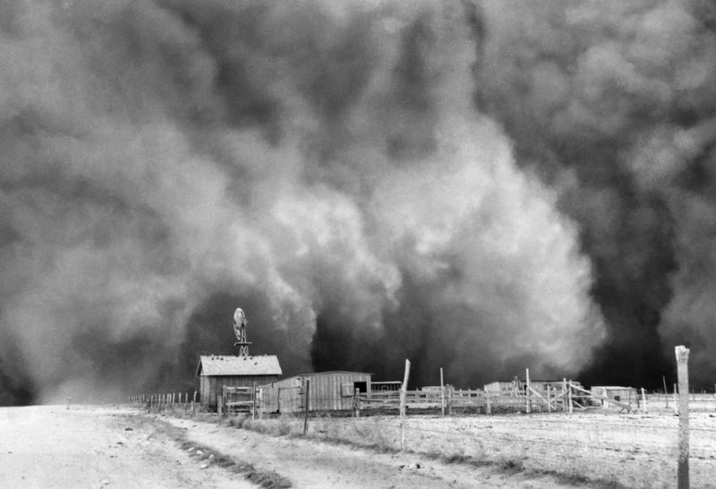 The worst storm of all hit on Palm Sunday, April 14, 1935—a day remembered as Black Sunday. Here the storm sweeps over a farmstead on its way toward Boise City.