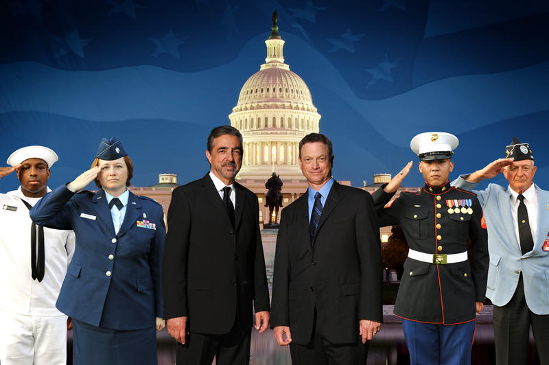 Joe Mantegna and Gary Sinise (center) co-host the NATIONAL SALUTE TO VETERANS (2012), celebrating all our American heroes who have served throughout our country's history.