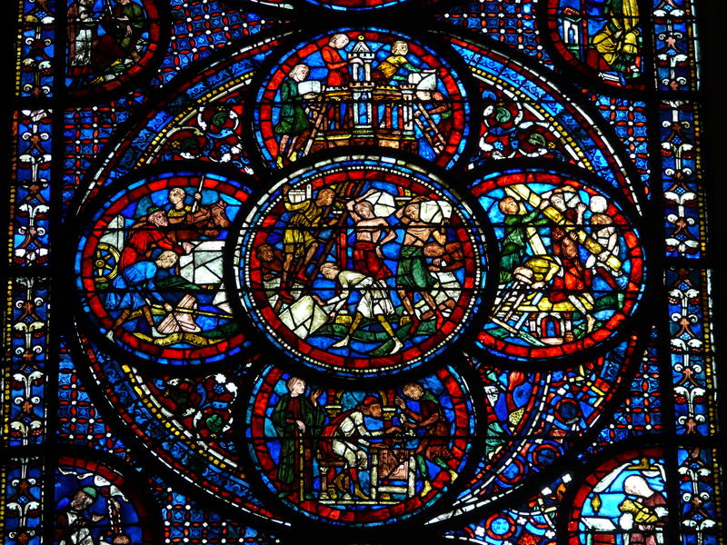 Pictured: A stained glass window inside Chartres Cathedral