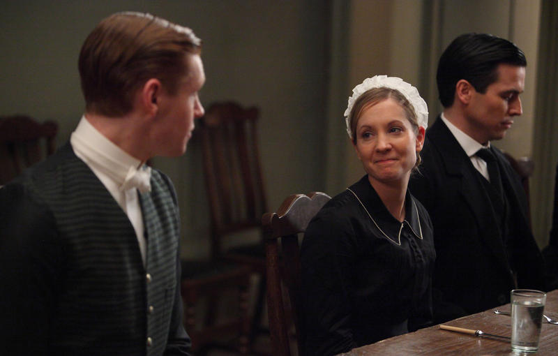 Shown left to right: Matt Milne as Alfred, Joanne Froggatt as Anna, Rob James-Collier as Thomas