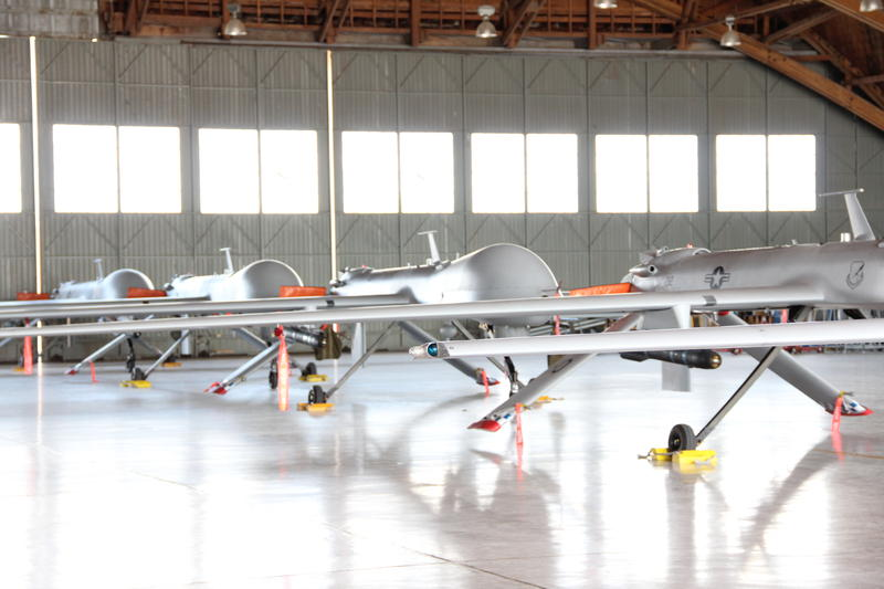 Predators lined up in hangar at Holloman AFB.