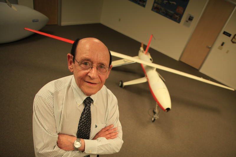 Abe Karem, the father of the Predator uav, with the Albatross, an early model of what would later became the Predator. Karem built the Albatross in his garage.
