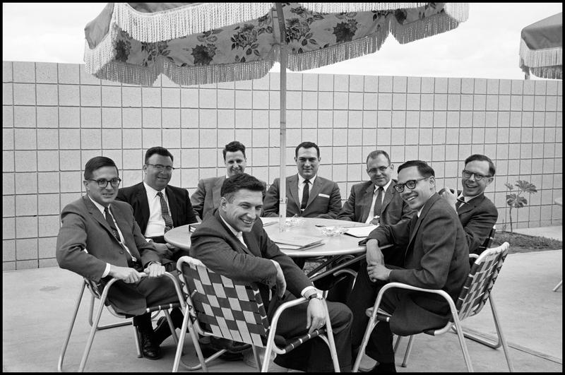 The Fairchild 8,Clockwise from top: Eugene Kleiner, Gordon Moore, C. Sheldon Roberts, Jay Last, Robert Noyce, Jean Hoerni, Julius Blank and Victor Grinich. 1960.
