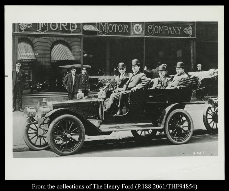 Henry Ford, James Couzens, Elwood Rice and Gaston Plantiff in Ford Model K Car, 1907.