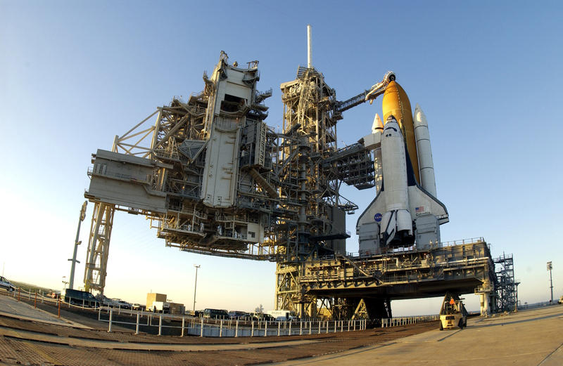 Space shuttle Columbia waiting for launch at Kennedy Space Center launch pad 39A shortly before STS-107.
