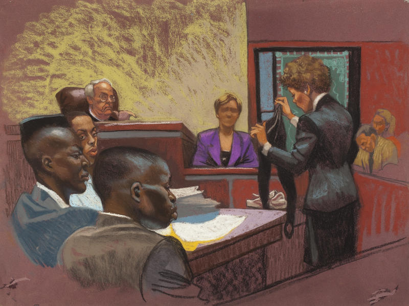 In a courtroom rendering from the first Central Park Jogger trial, prosecutor Elizabeth Lederer examines victim Tricia Meili as defendants Yusef Salaam, Raymond Santana and Antron McCray listen.