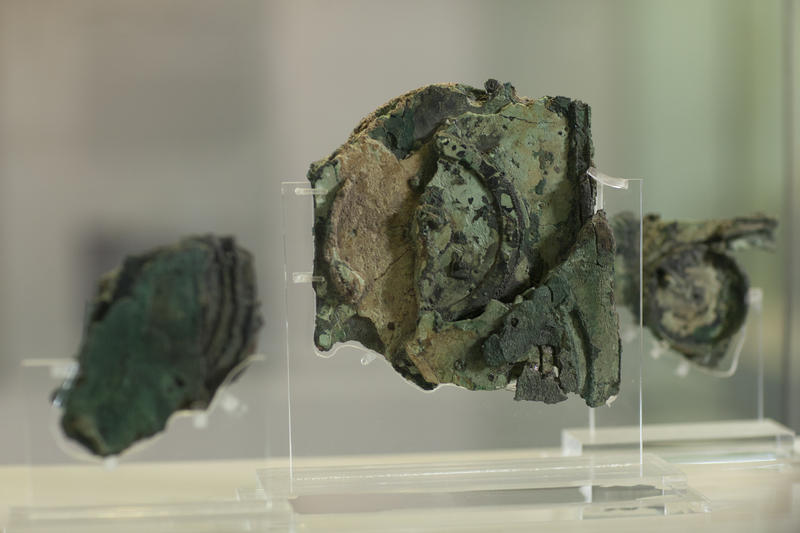 The three main fragments of the Antikythera Mechanism, Fragments A, B & C. These fragments contain all the known surviving gears, except for a single gear of unknown function in Fragment D. They are on display at the National Archaeological Museum in Athe