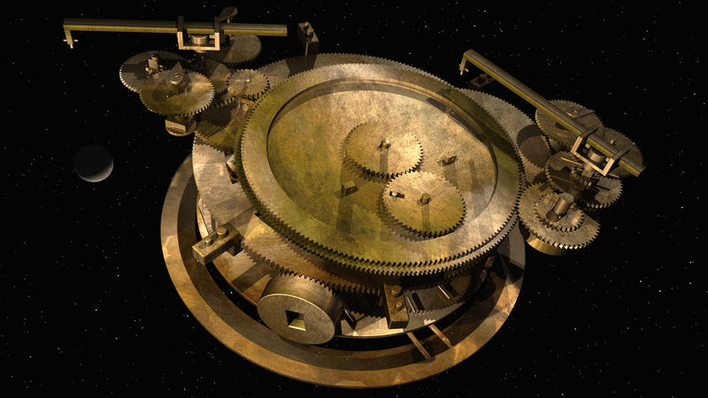 The gearing at the back of the Antikythera Mechanism, which includes the epicyclically-mounted pin & slot device that follows the variable motion of the Moon.