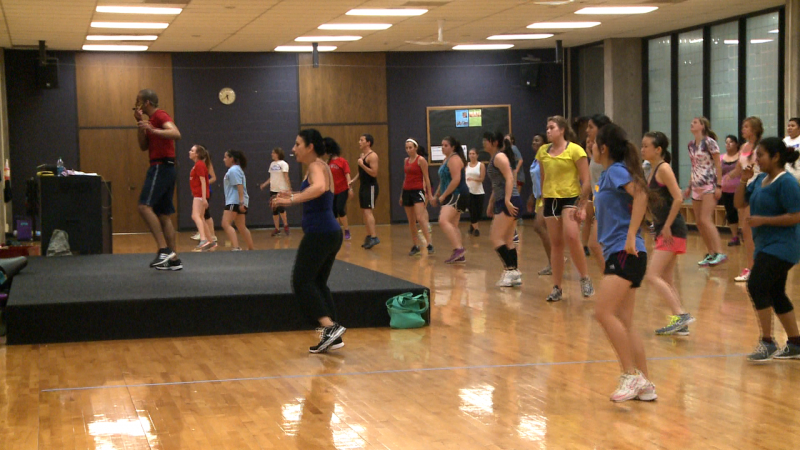Students participating in a Zumba class at the Rec.