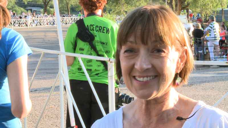 Denise Jaggers cheers on her son Blake Jaggers.