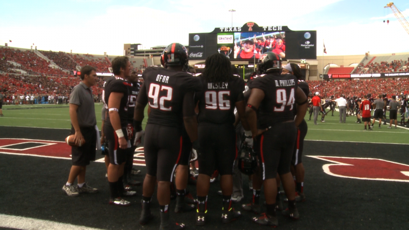 Texas Tech warms up against SFA Saturday night after a weather delay.