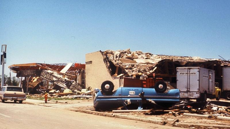 A picture from the City Hall the day after the tornado hit Lubbock.