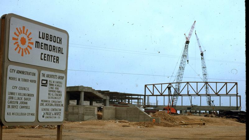 A picture of the development of the Lubbock Memorial Civic Center.