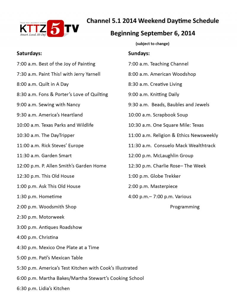 2014 Weekend Schedule