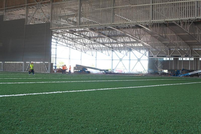 The field is 80 yards long with two 10-yard end zones.