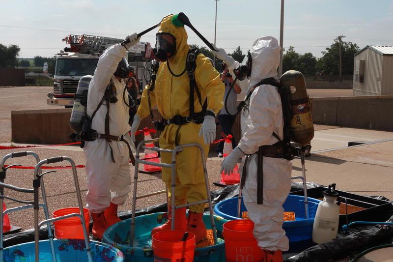 The men must also go through decontamination.
