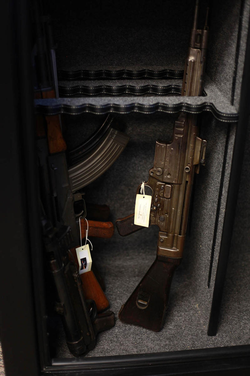 Weapons from the Vietnam War are kept locked away in a safe.