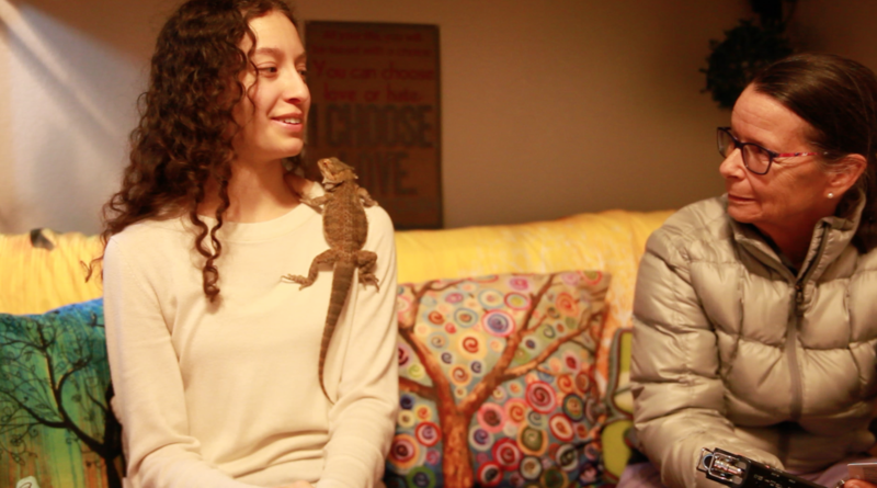 Madeline Garcia, a senior in the music department, relies on her lizard Toothless for emotional support.