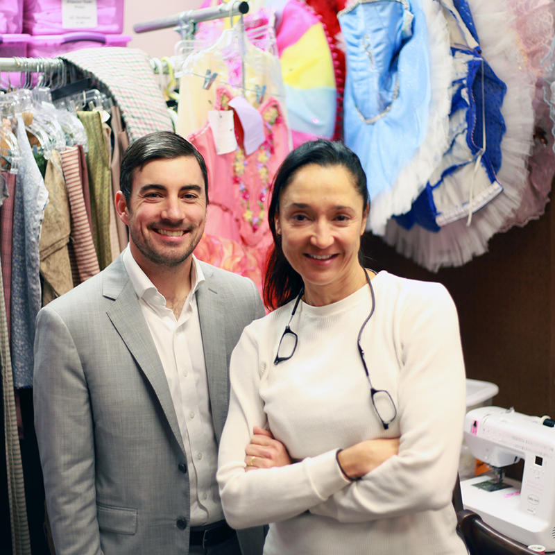 Nicholas Dragga and Yvonne Racz Key give a tour of the costume and props room.