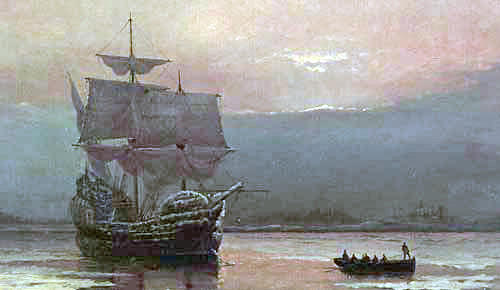 """Mayflower in Plymouth Harbor"" by William Halsall, 1882"