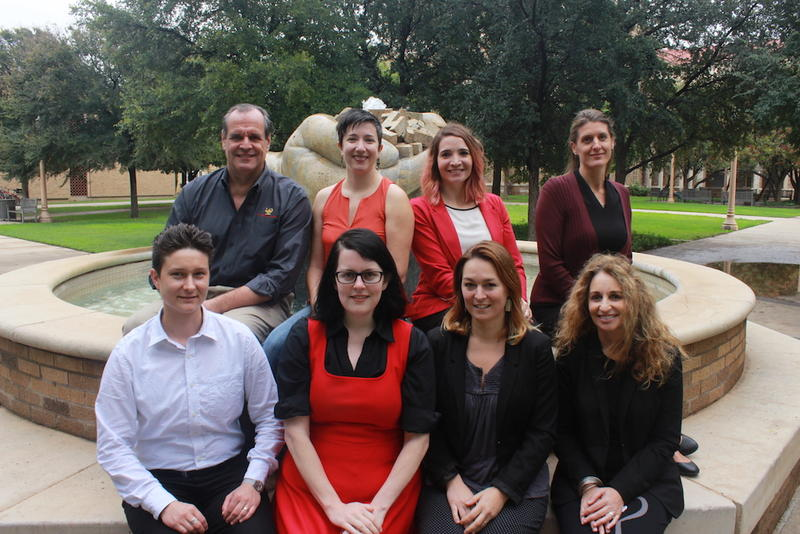 Bottom row: Alec Cattell (Principle Investigator, College of Arts & Sciences), Shelley Barba (University Libraries), Andrea Jonsson (A&S), Idoia Elola (A&S)  Top row: Kent Wilkinson (College of Media & Communication), Belinda Kleinhans (A&S), Sarai Brinke