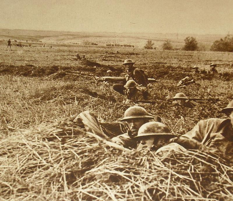 American troops in the field during World War I.