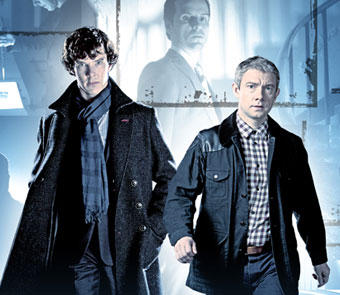 Benedict Cumberbatch as Sherlock and Martin Freeman as Watson
